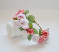 Rose Flower Crown in Pink Blush and Coral Boho Wedding Silk Flower Crown by blueorchidcreations on Etsy