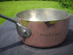 2.2 mm Antique French Solid Copper Saucepan, Cast Iron Fully New Tin Hammered Heritage on your Hob Marked SOULIAC Lovely Really Old Pan by NormandyKitchen on Etsy