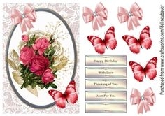 - A quick design with Pink roses, embellished with Butterfly and Bow. Sheet includes decoupage elements and sentiment panel. Love Thinking Of You, Ugly Sweater Contest, Christmas In Australia, Happy Birthday Love, Flowers For You, Cup Design, Love Cards, Rose Bouquet