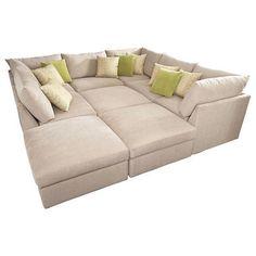 LOOOOOOOOVE!  Beckham pit sectional. Bassett furniture. Alternative to pull out bed, put a mattress pad on top!