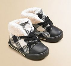 Burberry check baby boots. Too cute for my daughter's future son!! How cute with a little black winter coat!