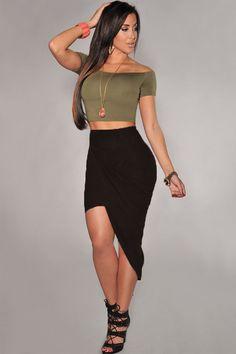 Black Ruched Asymmetrical Draped Sexy Skirt