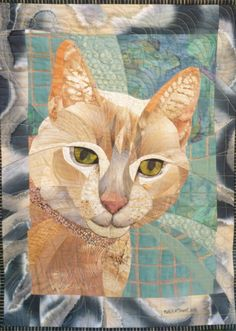 "Stanley, 24"" x 17 3/4"", quilt by Ruth B. McDowell. ©2015. Machine Pieced, Machine Quilted, Cotton Fabrics."