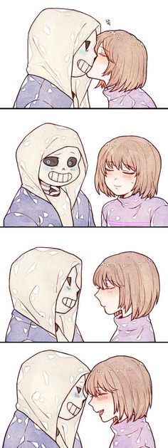"I see this ""ship"" being sans as the paternal figure (dunkle lol), and hes very overprotective of frisk and kisses them as a father would not how a romantic lover would (somehow kisses them without lips, maybe he just nuzzles frisk like in that last panel). And frisk is just a flirt nonetheless sooo yeah"