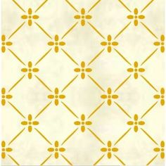 yellow flowers green lines, sort of a very abstract forsythia    Whimsical Trellis Wall Stencil