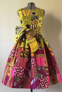 Feminine African Print Patchwork Yellow Pink Gradient Cotton Dress With Pockets and O… – African Fashion Dresses - African Styles for Ladies African Fashion Ankara, African Inspired Fashion, Latest African Fashion Dresses, African Print Fashion, Ghanaian Fashion, African Dresses For Kids, African Print Dresses, African Prints, African Print Dress Designs