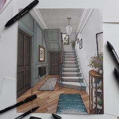 Interior Design Drawings of a Victorian House Croquis Architecture, Architecture Design, Interior Architecture Drawing, Interior Design Renderings, Architecture Concept Drawings, Drawing Interior, Interior Rendering, Interior Sketch, Architecture Diagrams