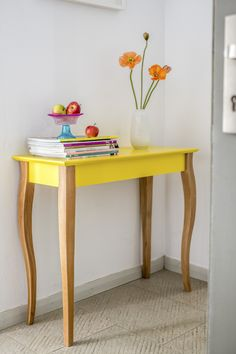 17 Stories This console table can be a decoration of a living room and bedroom. It can be also used as a hallway table; where you can put fresh flowers or family photos. Colour (Table Top): Yellow, Colour (Table Base): Brown, Size: 74 H x 85 W x 35 D cm Vintage Furniture, Painted Furniture, Furniture Design, Furniture Ideas, Console Ikea, Console Tables, Scandinavian Interior, Home Design, Furniture Makeover