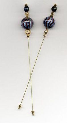 Vintage Barber-Pole Bead Hat Stick Pin | ManyHorsesJewelrySupply - Accessories on ArtFire