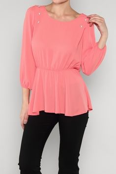 Chiffon Peplum Top, $31.00 by Appealing Boutique
