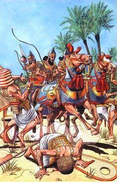 -0671 Assyrian War Chariot en la conquista de egipto y su capital Menfis.