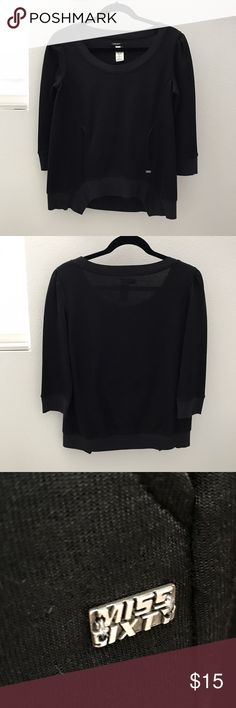 Miss Sixty Scope Neck Top Stylish black scope neck long sleeve top with front pocket. Miss Sixty Tops