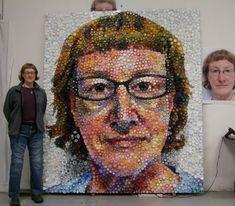 Mary Ellen Croteau — Unconventional Mosaic Art Mary-Ellen-Croteau-Bottle-Cap-Self-Portrait-4 – Artaic