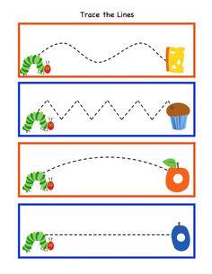 Preschool Printables: Hungry Caterpillar to Beautiful Butterfly Printable-fine motor Preschool Writing, Preschool Printables, Preschool Classroom, Preschool Learning, Preschool Activities, Free Printables, Preschool Worksheets, Free Preschool, Printable Tags