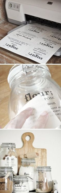 Add some old-fashioned lettering to clear glass canisters.