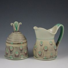 Amelia Stamps Cream & Sugar Set from Botbyl Pottery & Companion Gallery for $84 on Square Market