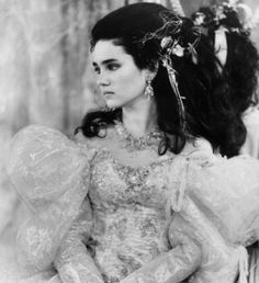 """""""Labyrinth,"""" 1986  Costume design: Ellis Flyte & Brian Froud  puff sleeved ball gown worn by Jennifer Connelly in the role of Sarah"""