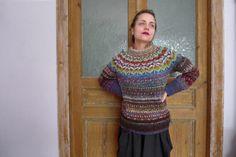 Handmade Icelandic style striped wool sweater for women by TASSSHA