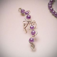 Silver Ear Cuff Purple Pearls Large Ear Wrap by ElectriccDreams
