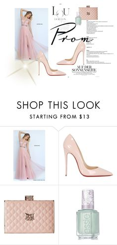 """""""Sherri Hill 50029 Blush A Line Net Prom Dress"""" by susannelsone on Polyvore featuring Christian Louboutin, Love Moschino and Essie"""