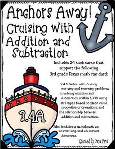 Includes 24 task cards that support the following 3rd grade Texas math standard: 3.4A Solve with fluency one-step and two-step problems involving addition and subtraction within 1,000 using strategies based on place value, properties of operations, and the relationship between addition and subtraction. 3rd Grade Classroom, 4th Grade Math, Opening A Daycare, Staar Test, Adding And Subtracting, Addition And Subtraction, Classroom Activities, Task Cards, Texas