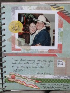 Page from This & that Epic Day journal from Stampin' Up!: my husband & I when we were dating in high school; love the washi tape!