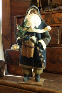 Primitive Quilt German Style Santa Claus with Tree Sheep Bells | eBay