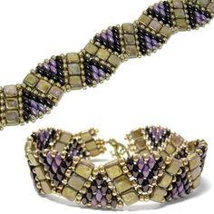 Darby bracelet: A variation of the Tila Twin Wiggle Bracelet pattern that uses size 8 seed beads, Czechmates Tile beads and SuperDuo beads.