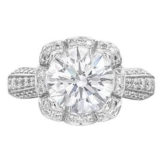 Round Diamond Edwardian Floral Halo Engagement Ring in 14K White Gold;;LOVE this. It's vintage, classy, sweet, and so elegant.