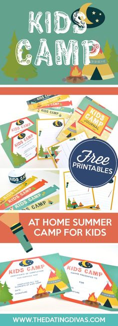 Kids Camp I love these cute camp printables! This is the perfect stay at home camp option.TheDatingDiva The post Kids Camp appeared first on Summer Diy. Camping Activities For Kids, Camping With Kids, Kids Camp, Outdoor Activities, Youth Activities, Family Camping, Therapy Activities, Kids Fun, Diy Spring