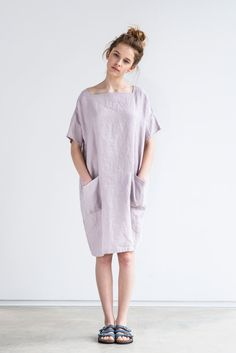 Washed and soft linen summer dress for summer days.