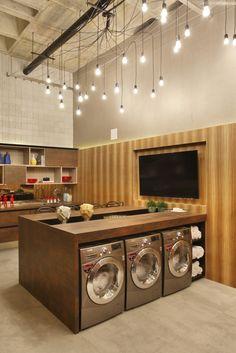 Laundromat Business, Laundry Business, Laundry Shop, Coin Laundry, Self Service Laundry, Laundry Room Storage, Laundry Room Design, Commercial Interiors, Retail Design
