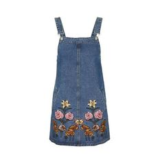 Embroidered Denim Dress by Glamorous Petites (59 AUD) ❤ liked on Polyvore featuring dresses, blue, denim dress, blue dress, broderie dress, denim dungaree and blue embroidered dress