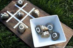 Use rocks to play tic tac toe.