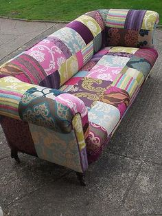 Handmade Velvet Patchwork Sofa - Antique Victorian 3 seater chesterfield c1880