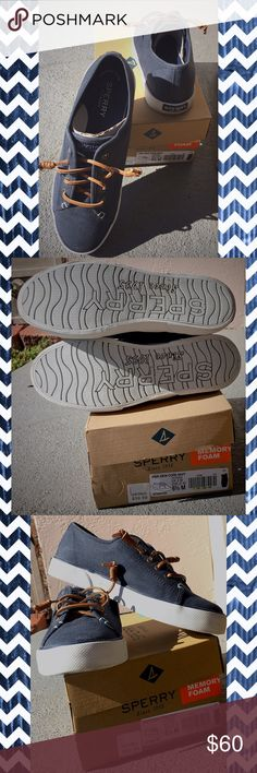 MEMORY FOAM SPERRYS ❗️❗️❗️ WORN ONCE ❗️❗️❗️ like new!! Very comfortable with memory foam soles. No markings. Light light light wear on very bottom. See photos and see how they are in perfect condition.  No fading on navy material. Paid $67 with taxxx. Original box purchased with shoes. Sperry Shoes Sneakers