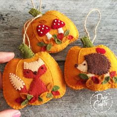 PRE ORDER / Pumpkin ornament with Squirrel and colorful leaves, Fall decorations, Autumn decor, Wool Felt ornament - 1 ornament Felt Christmas Decorations, Felt Christmas Ornaments, Noel Christmas, Homemade Christmas, Felt Embroidery, Felt Applique, Autumn Crafts, Holiday Crafts, Fall Felt Crafts