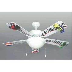 """42"""" Race Car Ceiling Fan 5-Blade 2-Light 3-Speed NEW!"""