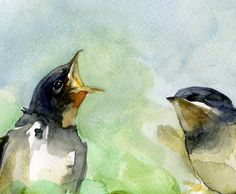 watercolor painting of birds | Swallow Painting, Watercolor Birds Art Print from original watercolor ...