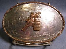 Old 2 BANNER Comstock Silversmiths TROPHY Barrel Racing Belt Buckle MAKE OFFER $175.00 or Best Offer Free shipping  Item image