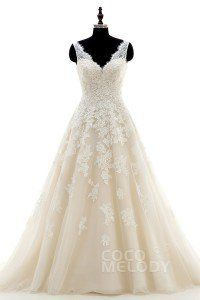 [ AUDAU$ 524.57 ] Chic A-Line V-Neck Natural Court Train Tulle and Lace Ivory/Champagne Sleeveless Open Back Wedding Dress with Appliques CWAT16004