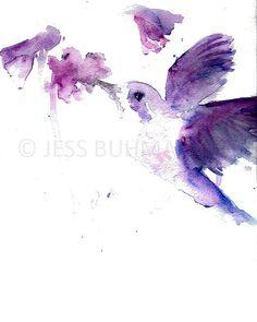 "Print of Original Watercolor Painting, Titled: ""Josie the Hummingbird"" by Jessica Buhman 8 x 10 Purple Pink Floral Flower Hummingbird"
