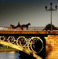 Puente de Triana y coche de caballos. Seville