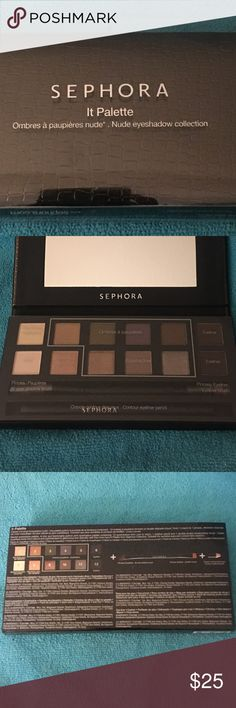 SEPHORA IT PALETTE NUDE EYESHADOW COLLECTION GORGEOUS palette includes 12 eyeshadows from cool to warm; 1-eyeliner pencil and 1-double ended shadow liner brush.  AMAZING / new in box. Mirrored python print compact has eyeshadow primer, highlighters and rich shadows and eyeliners!  The brush alone makes this ONE HECK OF A FIND!!!!! Price is firm (otherwise, I will convince myself to keep this!). Trying to clear out some space to simplify my life! (WISH ME LUCK WITH THAT!) smoke free home…