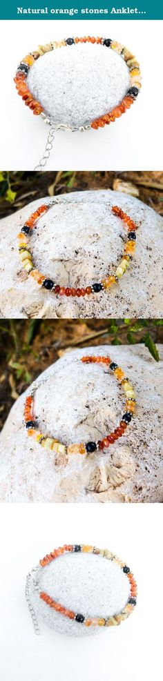 Natural orange stones Anklet, Carnelian anklet. Carnelian orange anklet, natural carnelian gemstone ankle bracelet. Great colors and great combination of natural orange carnelian beads in few tones, separated with silver plated flowers and black onyx beads. Silver plated chain is added for easy adjusting to any size. Special Promotion price!! Non allergenic, Natural stone beads only!! ~~♦♦ About Carnelian ♦♦~~ Carnelian (also sometimes referred to as cornelian) is a variety of chalcedony....