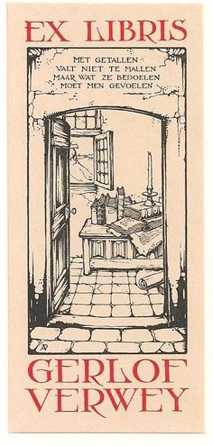 Anton Pieck (1895-1987), Dutch / bookplate for  Gerlof Verwey ... depicts room with old books stacked on chest or table seen through opening door