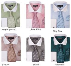 Men's Cotton Blend Geometric Print Dress Shirt Set #624 Classic French Cuff  #Georges