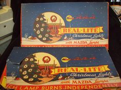 Two Boxes of Vintage Christmas Tree Lights by Real-Lite with MAZDA Lamps