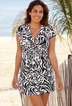 99c6132caf Beach Belle Zebra Splash Plus Size Ring Front Tunic Best Swimsuits