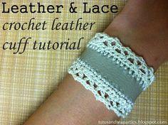 Como hacer una Pulsera de Crochet y Cuero - Patrones Crochet